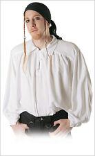 Blanco Camisa De Hombre con 3 BOTONES delant. TALLA S/M GÓTICO MEDIEVAL PIRATA