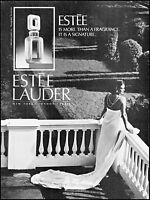 1985 Estee Lauder woman on balcony evening dress vintage photo Print Ad ads17