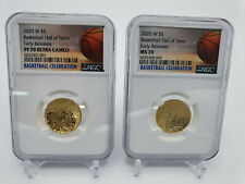 🌟2020-W $5 Hall of Fame Gold Proof & UNC NGC PF70 & MS70 ER Basketball LABELSET