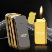 High Quality Mens Ultrathin Metal Cigarette Lighter Refillable Butane Lighter