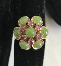 14K Solid Yellow Gold Jade Amethyst Flower Cocktail Ring