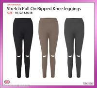 New Ladies Women Ripped Knee Skinny Ladies Leggings Sizes 10/12/14/16/18