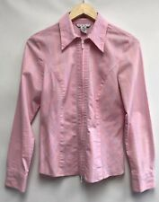 Cabi Womens Size Medium Shirt Pink Stripe Zip Front Stretchy Style #330