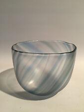 Design Glas Vase/Schale satiniert blaue Streifen Murano? Scandinavia? Bowl