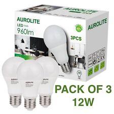 PACK OF 3 AUROLITE LED Bulbs 12W E27 A60 Warm White 3000K