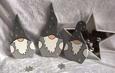 Weihnachten Wichtel, SET grau, Weihnachtsdeko, 3 Stück