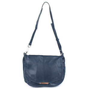 100% Authentic Alexander Wang Iris Navy Leather Messenger Crossbody Shoulder Bag