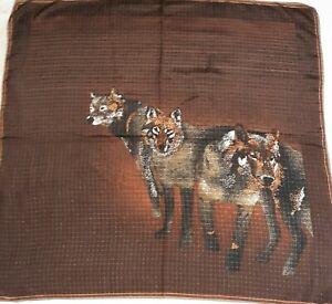 Loups FOULARD ÉCHARPE vintage carrée 100 % soie silk scarf