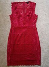 GUESS Raspberry Pink Lace Bodycon Lined Dress UK Size 8