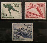 Germany 3rd Reich 1936  Mi 600 - 602 Sc B79 - 81  Winter Olympics  MNH