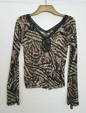 MEXX Long Sleeve Black Nude Animal Print V Neck Embellished Top Long Sleeves XL