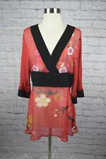 Harari S Small Red Black Asian Floral Side Zip Silk Tunic Blouse
