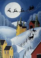 Big Sale Santa barn horse sleigh Christmas gift reindeer ACEO folk art print DC