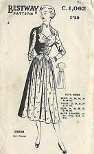 1940s Vintage Sewing Pattern B36 DRESS (R654)