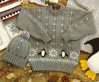 "Penguin Baby Childrens Sweater & Hat  20"" ~ 30"" -1/11 yrs DK Knitting Pattern"