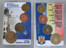 Rumänien / Romania Mint Set 1,5,10,50 Bani 2005 in Coincard unz