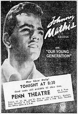 Johnny Mathis Original 1967 Unused Concert Ticket