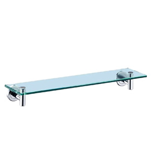 Latitude II Shelf Wall Mounted Thick Tempered Glass Chrome Shower Shelves, New
