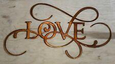 Love Rustic Copper Patina Finish Metal Wall Art Hanging