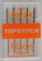 Klasse Sewing Machine Needles, TOPSTITCH Size 90 / 14, Pack of 5 Needles