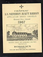 GRAVES 1ER GCC VIEILLE ETIQUETTE CHATEAU LA MISSION HAUT BRION 1967   §03/12/16§