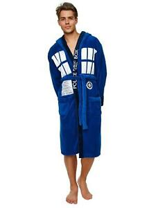 Doctor Dr Who Tardis Hooded Fleece Bathrobe Dressing Gown