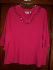 QUACKER FACTORY 1X DARK PINK TOP W/ SEQUENCES 3/4 SLEEVES 100% COTTON