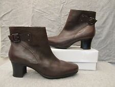 CLARKS Brown Leather Ankle Boots 8/5M Zippered Heels Buckles VGUC