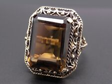 14k Yellow Gold 17ct Emerald Cut Smokey Topaz Solitaire Cocktail Ring Size 7.5
