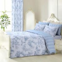 BLUE WHITE FRENCH TOILE STRIPED REVERSIBLE DOUBLE DUVET COVER