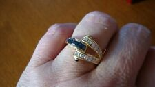 18K 750 SOLID GOLD BLUE SAPPHIRE DIAMONDS DESIGNER'S RING 5.3 GRAMS SIZE 7.5