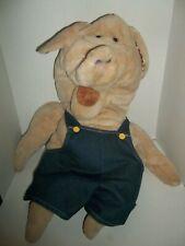 "senitt country pig piggy full body hand puppet plush 30"" tall with bib overalls"
