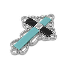 FREE SHIP! Turquoise & Black Onyx Cross .925 Sterling Silver Pendant 1""