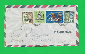 JAMAICA AIR COVER to CHICAGO--1971--4 NICE STAMPS all tied to Kingston 14-8-1971