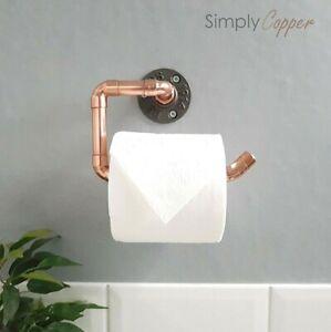 Copper Toilet Roll Holder + Cast Iron Wall Mount  -  Handmade Industrial Design