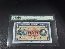 "1952 Union Bank Of Scotland, 1 Pound P-S861sp "" Specimen Proof "" PMG 58"