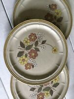 "3 Vtg Crown Manor Stoneware Floral Garden 12-1/4"" Chop Plate Round Platter Serve"