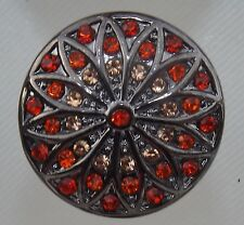 Red & Orange Crystal Flower Pattern 18mm Noosa Style Snap Buttons