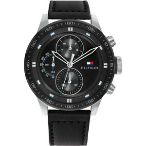 Tommy Hilfiger Men's Black Dial Leather Strap Watch 1791810 RRP £150