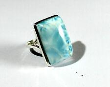 Sterling Silver Ring #9 ½ Impressive Natural Sky Blue Larimar .925