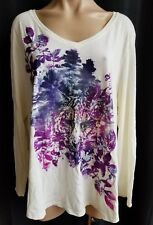 Just My Size Off White Long Sleeve Thin V Neck Purple Floral Glitter Tiger 2X