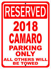 """2018 18 Camaro Chevy Novelty Reserved Parking Street Sign 9""""X12"""" Aluminum"""