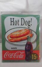 Coca Cola Tin Sign - Retro - Hot Dog & A Coke Sign - Man Cave, Garage, Kitchen