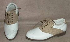 Women's white/tan Mizuno golf saddle shoes / cleats , sz 6 , Miz collection
