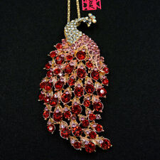 New Betsey Johnson Red Enamel Cute Peacock Crystal Animal Necklace Sweater Chain