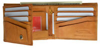 MENS LEATHER WALLET BIFOLD ID Window Plain 2 Flaps Credit 12 Card Front Pocket