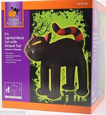 Halloween 9 ft Lighted Black Cat with Orange Stripe Tail Airblown Inflatable NIB
