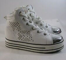 """new White Silver Stud/Spikes 1.5""""Platform Lace Up Sexy Ankle Boots Size 6.5"""