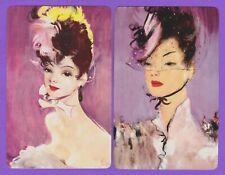 2 Single VINTAGE Swap/Playing Card CHIC LADIES 'TANGO WA-7-9/10 JG DOMERGUE ART