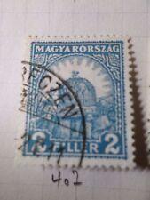 HONGRIE 1928, timbre CLASSIQUE 407, COURONNE, oblitéré, VF CANCEL STAMP